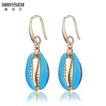 ShinyGem 2019 Bohemian  Statement Shell Drop Earrings Gold Seashell Dangle For Women