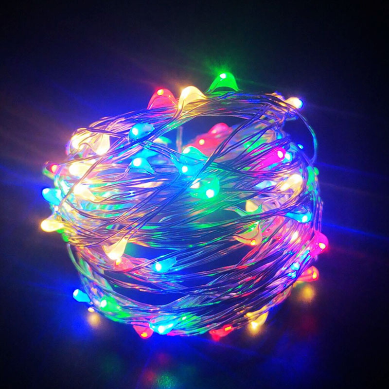 1M 2M 3M 5M 10M LED String lights Silver Wire Fairy Garland For Christmas Holiday lighting Tree Wedding Party Decoration