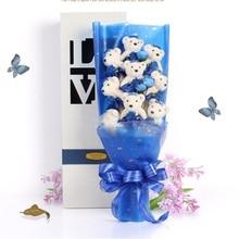 NEW Handmade Wedding bridal bouquet Soft Plush Toy Bouquet Teddy Bear Bouquet Cartoon Doll Valentine Gift free shipping