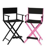 Aluminum Frame Makeup Artist Chair Black/Pink Color Outdoor Furniture Lightweight Portable Folding Director Camping Makeup Chair