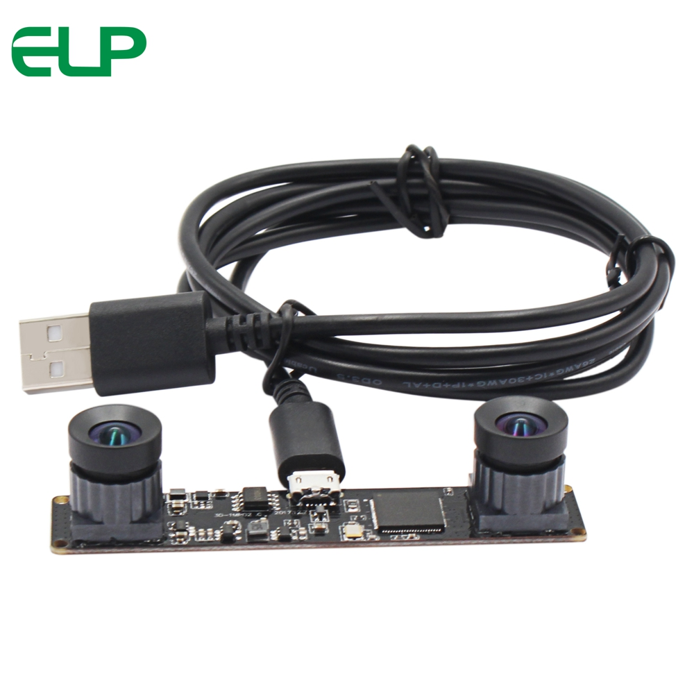 ELP No Distortion 3D Stereo Webcam Free Driver 2560x960P 60fps Dual Lens synchronization Usb Camera Module for Robot vision купить в Москве 2019