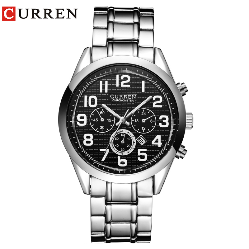 High Quality Men Fashion Casual Calendar Japanese Movement Steel Waterproof Sport Curren 8050 Watch
