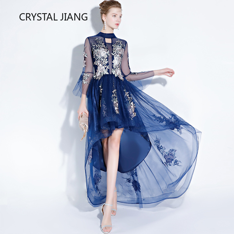 Fashion New Style 2019 High Neck 3D Lace Applique Navy Front Short Long Back   Cocktail     Dress   Short Semi Formal   Dress