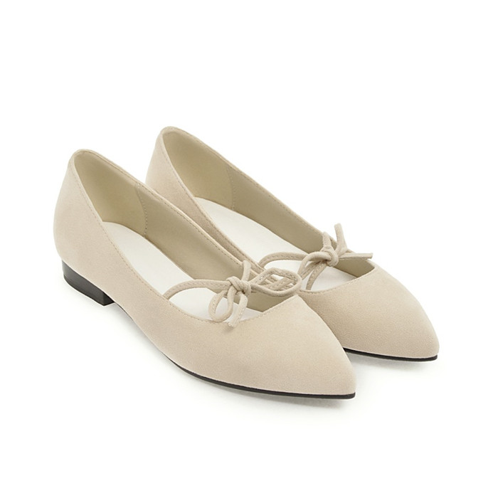 Annymoli 2018 Donna Boat Flats Shoes Spring Lace Lace Spring Up Bow-Knot Pointed Toe Shoes F 80b8ce