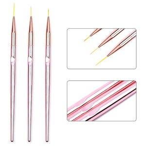 Image 3 - 3pcs/set Rose Gold Nail Art Line Painting Brushes Metal Handle Thin Liner Drawing Pen DIY UV Gel Tips Design Manicure Tool Kits