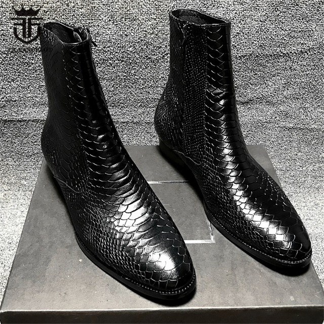 High End Handmade genuine leather Serpentine pointed toe Slim men wedge ankle Boots designer leather brand wedding dress shoes