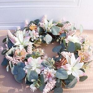 Image 4 - Artificial Succulent Flower Wreath Garden Hanging Wreath for Home Wall Front Door Wedding Decor