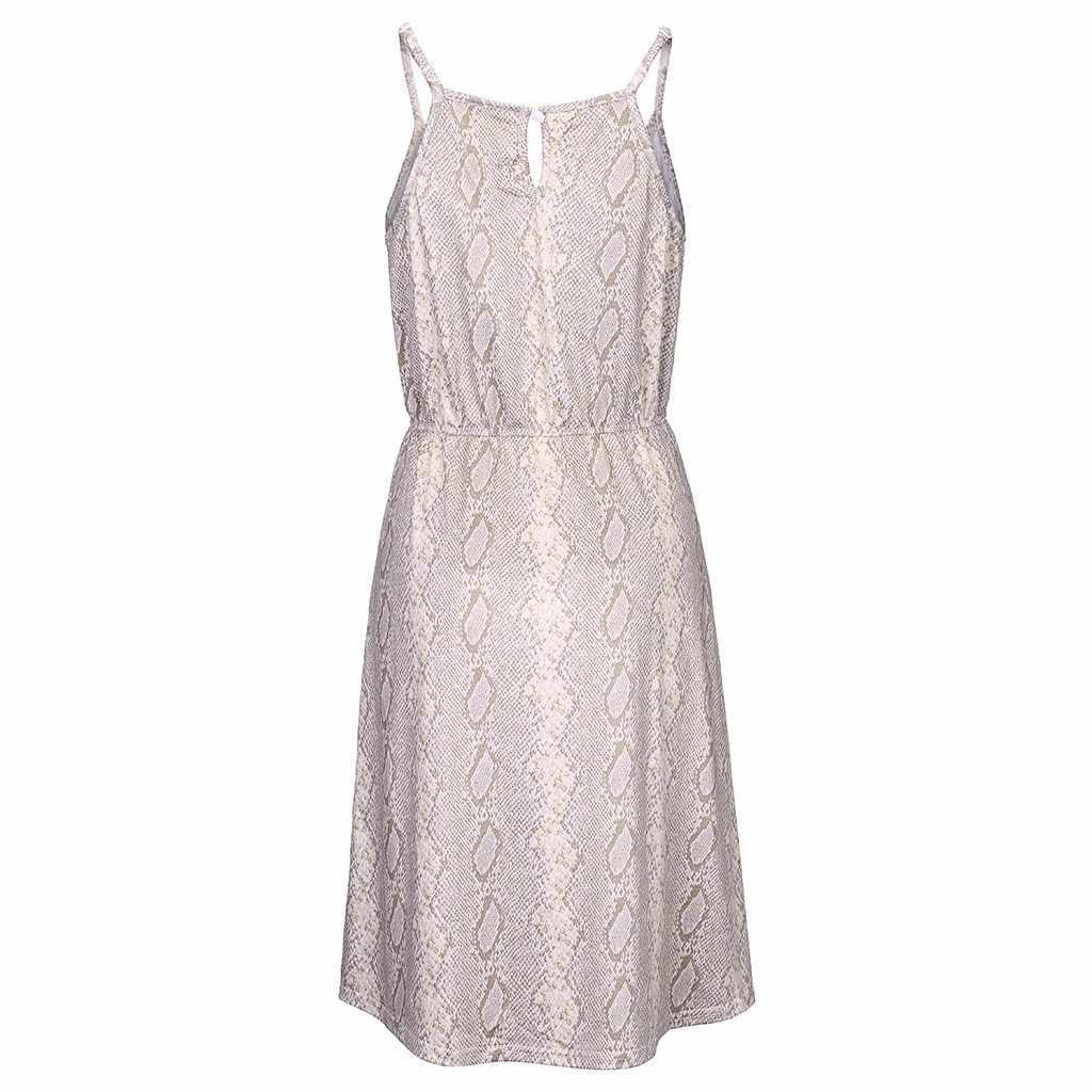 Сексуальные женские модные платья с принтом змеи без рукавов повседневные Мини Летние платья высокая посадка, ремень платья женские платья #40