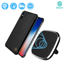 Nillkin 本革チー車のマウントワイヤレス充電器 Iphone × クイック充電ホルダーのための本革ケーススタンド iPx