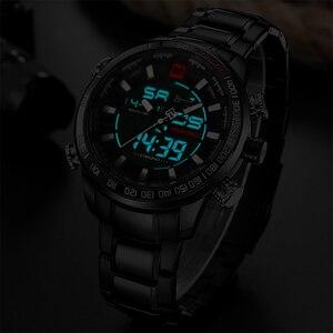 Image 5 - Naviforce 브랜드 남자 군사 스포츠 시계 망 led 아날로그 디지털 시계 남성 육군 스테인레스 쿼츠 시계 상자 세트 판매