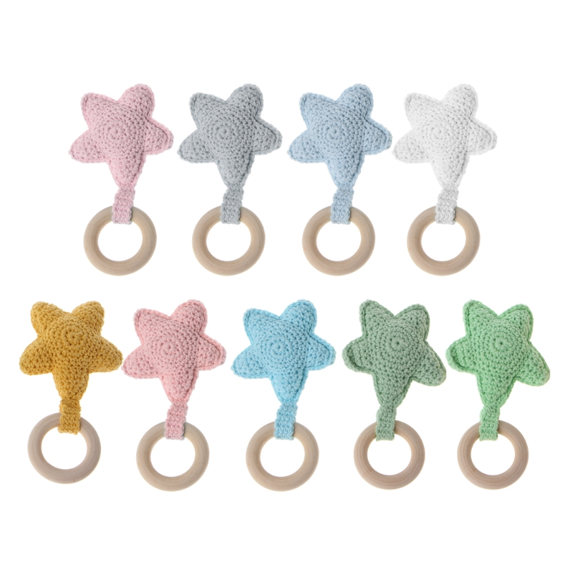 Cute Teether Star Baby Teething Ring Chewie Teether Safety Wooden Natural Star S