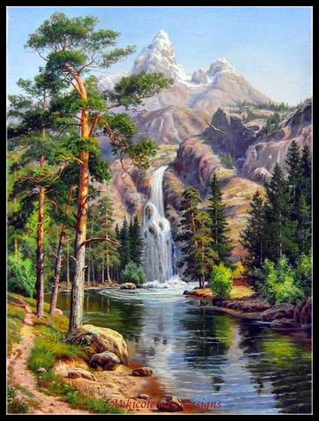 Embroidery Counted Cross Stitch Kits Needlework - Crafts 14 Ct DMC Color DIY Arts Handmade Decor - Waterfall In The Mountains