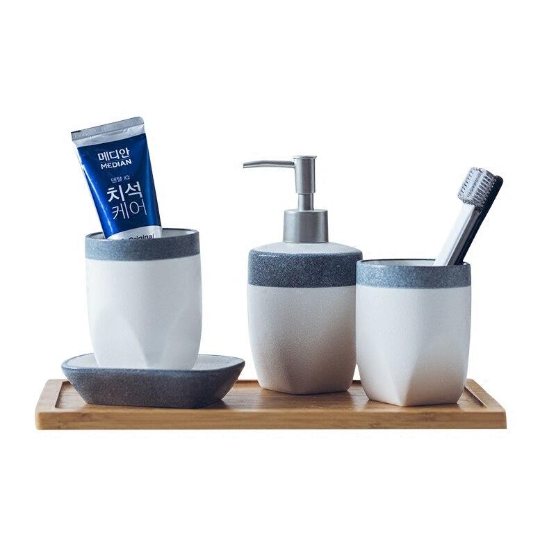 Nordic Minimalism scrub bathroom four in set ceramic toothbrush cup gargle dispenser dish toothbrush holder wedding gift