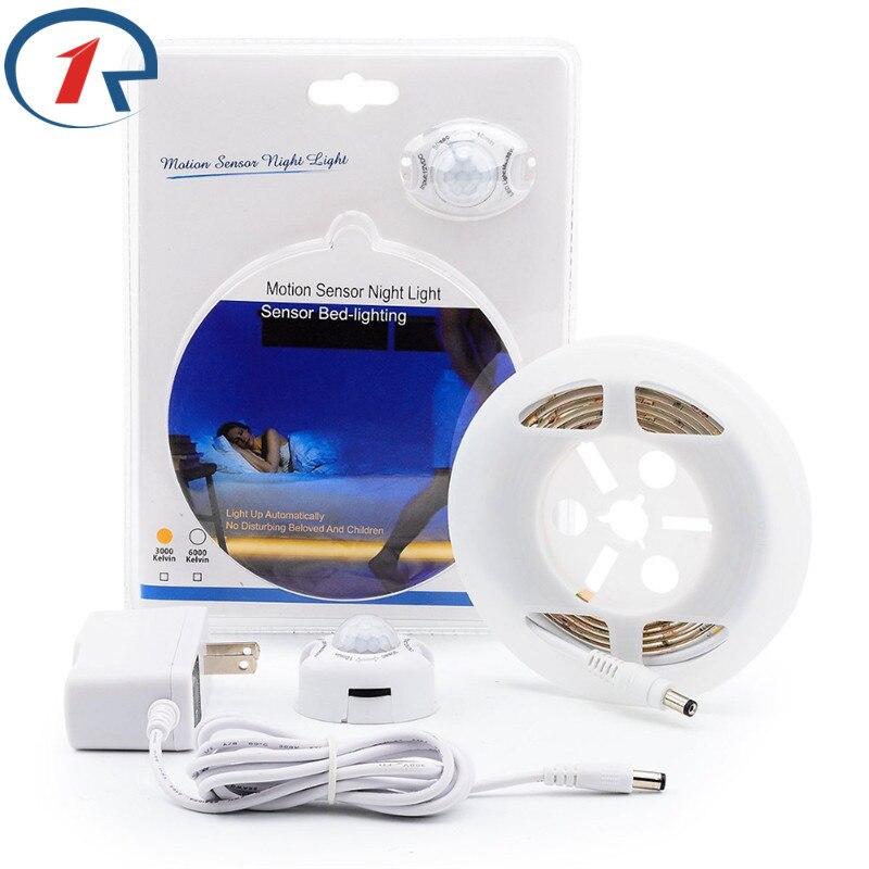 ZjRight Motion Sensor led strip waterproof lamp lights Flexible DIY household Warm White Automatic Shut Off Timer Bed led Light