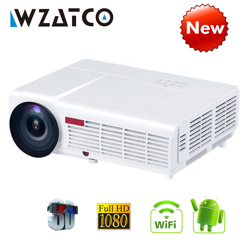 WZATCO LED96W LED 3D Projector 5500Lumen Android 6.0 Smart Wifi full HD 1080P support 4k Online video Beamer Proyector for home цена