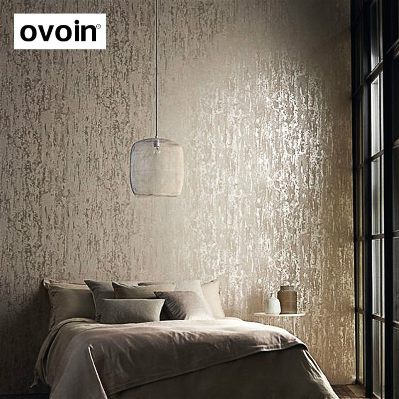 Solid Color Embossed Textured Wallpaper 3d Flocking Non woven Wall Paper Roll Living Room ...