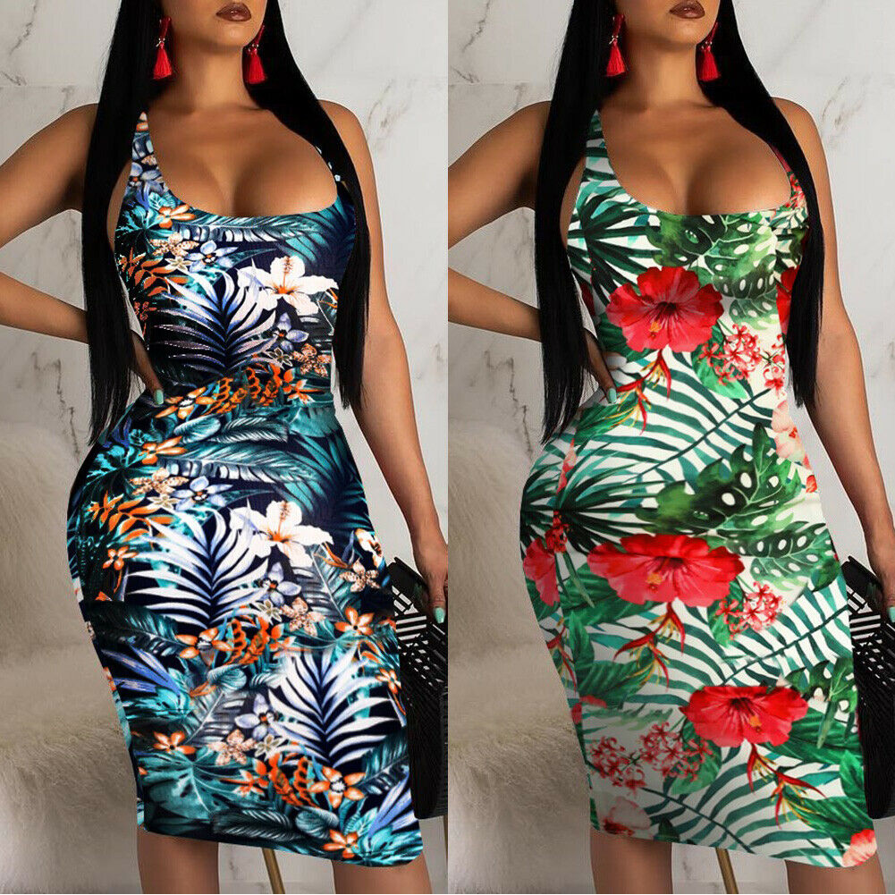 2019 Fashion Womens Ladies Sleeveless Summer Boho Printed Beach Casual Loose Sundress Tight Sexy Sling Hawaiian Dress
