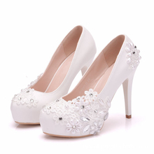 Wedding Shoes Bride Super High 14cm Heeled Platforms White Pearls Flower Lace Bridal Lady Party Wedding Pumps Shoes XY-A0316 white lace flower flat heel wedding flats shoes woman bride bridal handmade plus size 41 42 43 beading pearls party shoe hs312