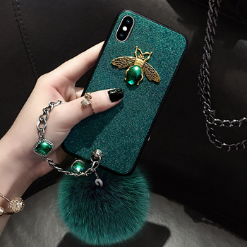 Diamond Luxury Brand Bee Case with Jewel Hand Strap Fur Ball Case for Iphone XS MAX Case for Iphone XR X 8 7 6 6S Plus Case Back leather