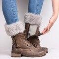 Novo 2017 Outono Malha Polainas Para As Mulheres Das Senhoras de Inverno Faux Fur Aquecedores Crochet Leg Punhos Toppers Forro Curto Bota meias