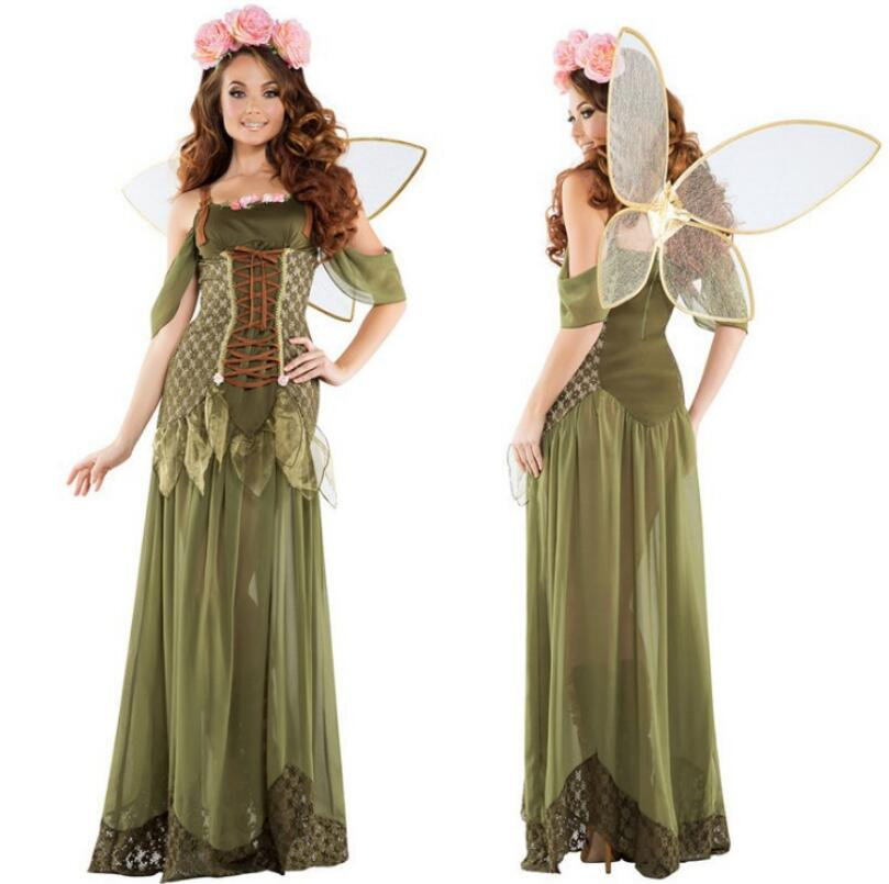Delux Adult Ladies Green Tinkerbell Fantasy Angel Fairy Wings Fancy Dress Access