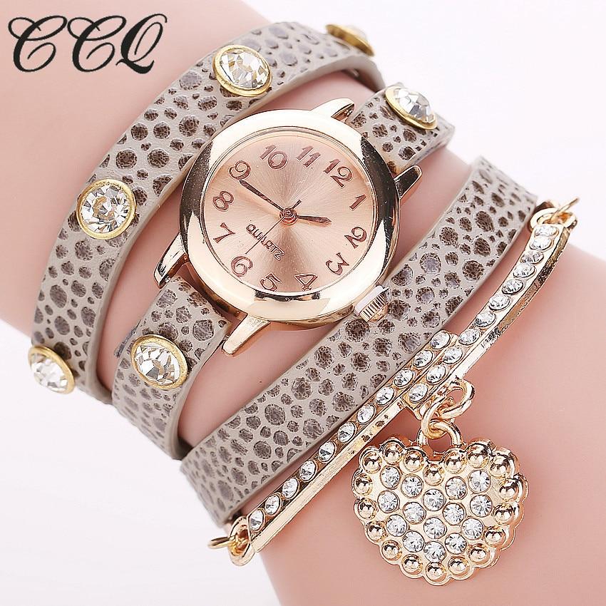 CCQ 2016 Fashion Heart Pendant Watch Casual Women Bracelet Watches Quartz Watch Relogio Feminino 713 casual layered heart wings watch