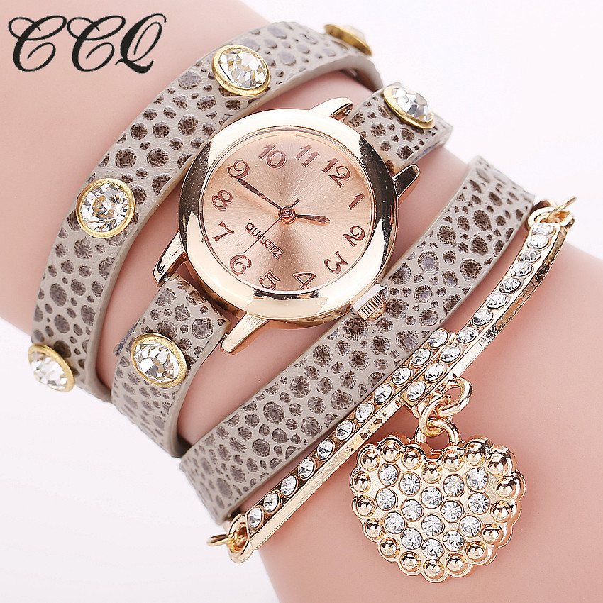 Fashion Heart Pendant Watch Casual Women Bracelet Watches Quartz Watch Relogio Feminino ...