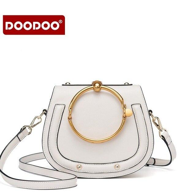 US $49.98 |DOODOO Fashion Metalen Ring Handtas Lederen Vrouw Brood Vorm Zadel Tassen Vrouwen Schoudertas Brand Design Messenger Bags in DOODOO Fashion