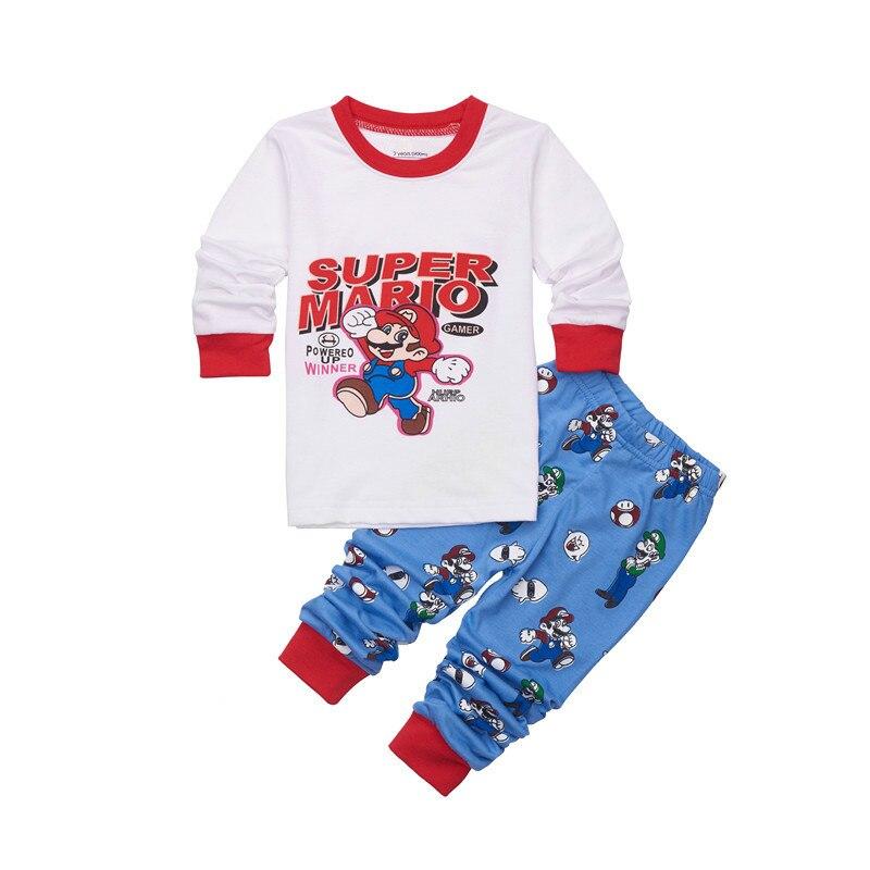 New Toddler Boys Clothes Set Buzz Lightyear Kids Pajamas Sets Cartoon Woody Pijama Infantil Super Mario Bros Pijama 2pcs Suits