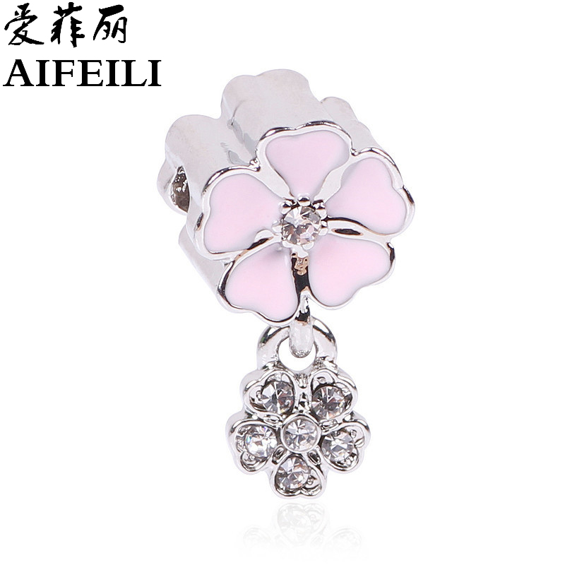 AIFEILI New Fashion Silver Color Jewelry Pink Flowers Pendant Floating Beads Charm European Orchid Fit Pandora Bracelet Necklace