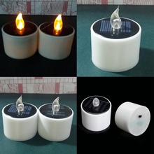 2 Pcs/set LED Nightlight Solar Energy Candle New Type Yellow Flicker Solar Power LED Light Candles Flameless Electronic