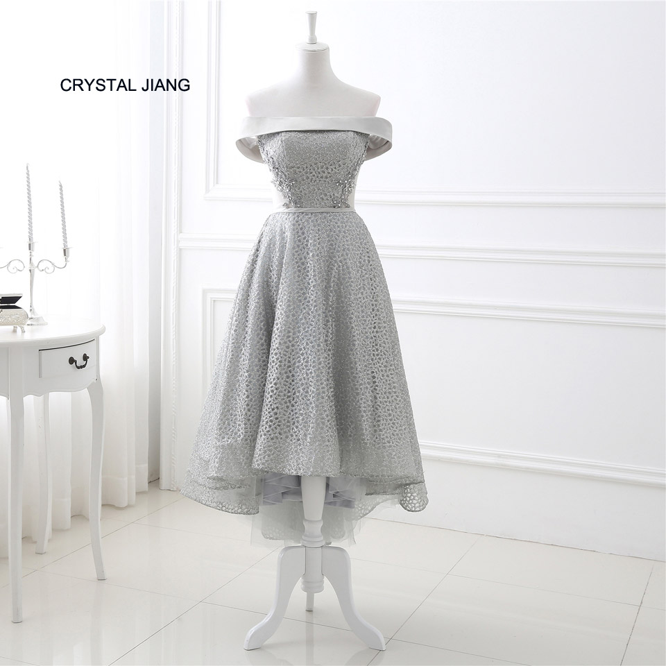 CRYSTAL JIANG 2018 Strapless Shiny Lace Applique Beaded Custom made Lace up Back Front Short Long Back Robe De   Cocktail     Dresses