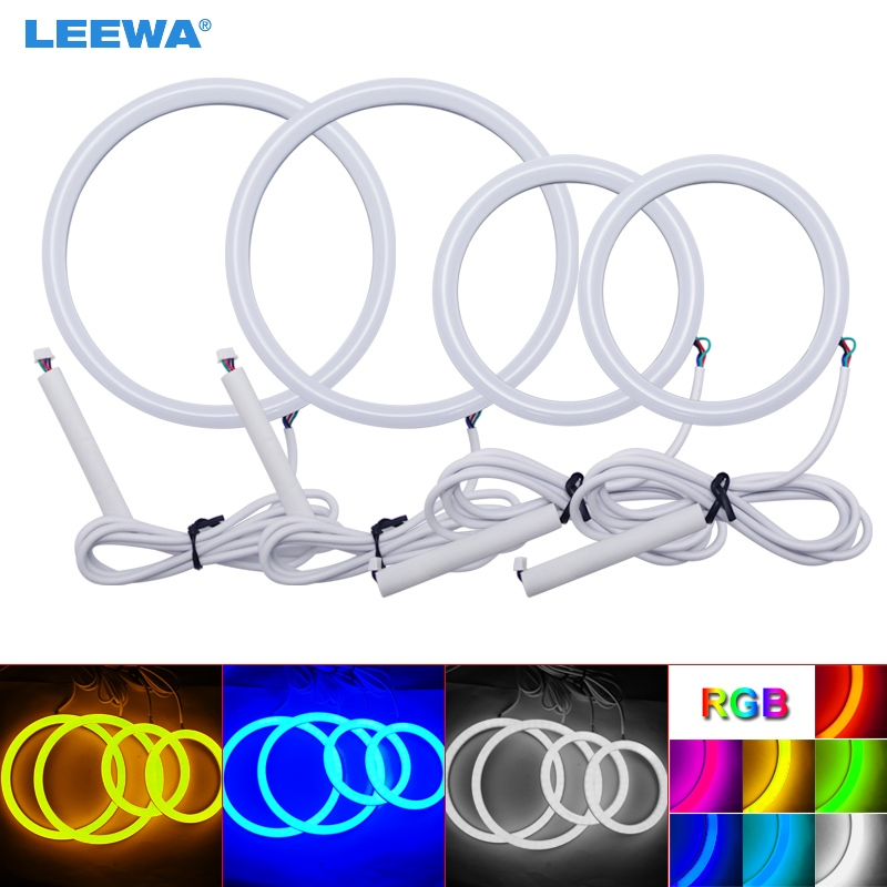 LEEWA 2X126mm 2X90mm Car Auto Halo Rings Cotton Lights SMD LED Angel Eyes for Volkswagen Golf 4 DRL White/Blue/Yellow/RGB #3773 baby girls clothes set children short sleeve t shirt short print panties girl clothing sets summer