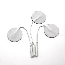 10Pcs 3.5cm Round Electrode Pads Body Massager Tens Therapy Unit Muscle Stimulator Machine 2mm Plug With Cable Physical Therapy 100pcs 5 5cm reusable self adhesive tens electrode pads for digital tens physiotherapy massager nerve muscle stimulator 2mm plug