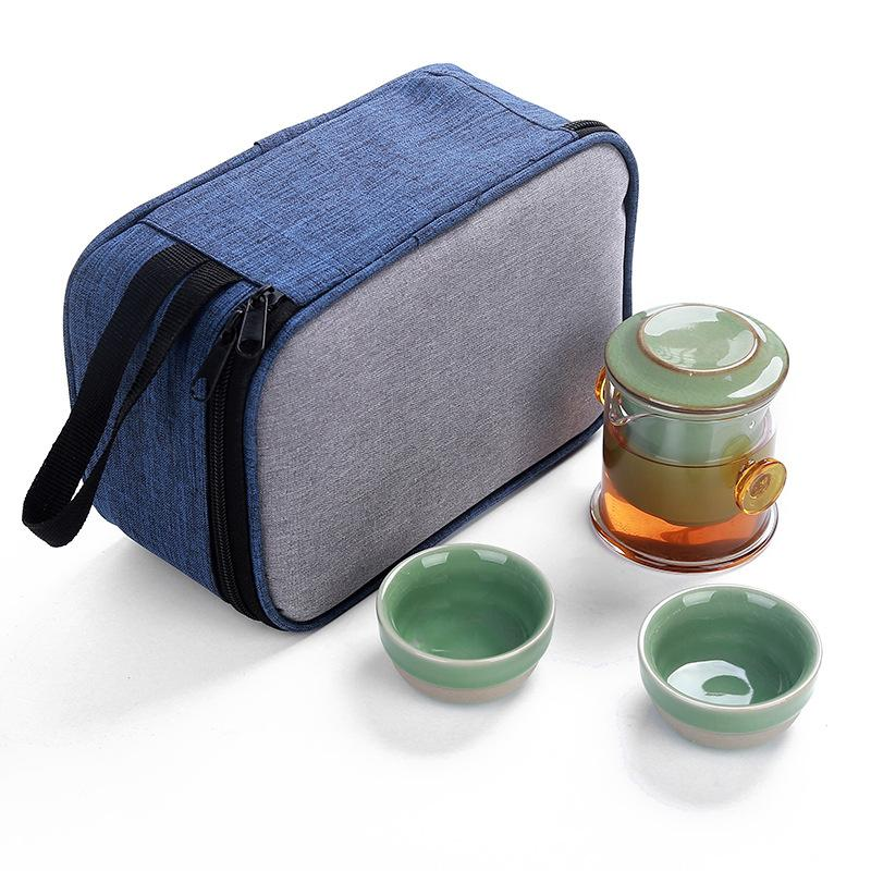 Chinese Travel Kung Fu Tea Set Ceramic Portable Teapot Porcelain Teaset Gaiwan Tea Cups of Tea Ceremony Tea Pot With Travel Bag in Teaware Sets from Home Garden