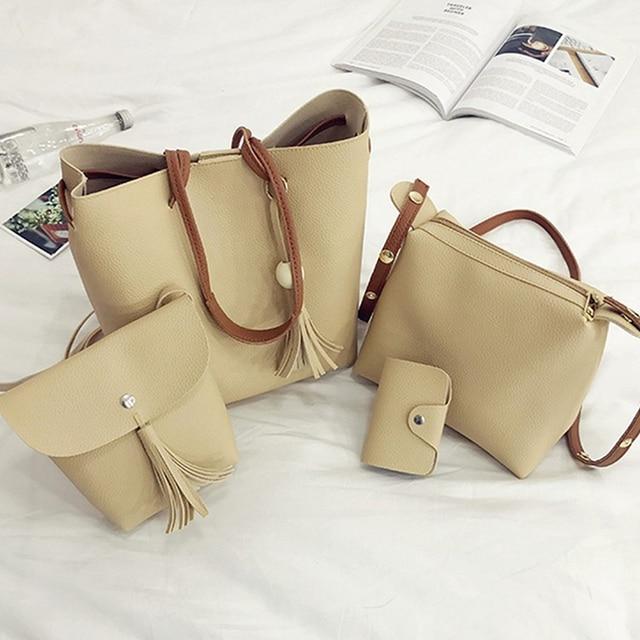4Pcs/Set Women Faux Leather Handbag Shoulder Bag Tote Purse Messenger Handbag bag for women 2018 4
