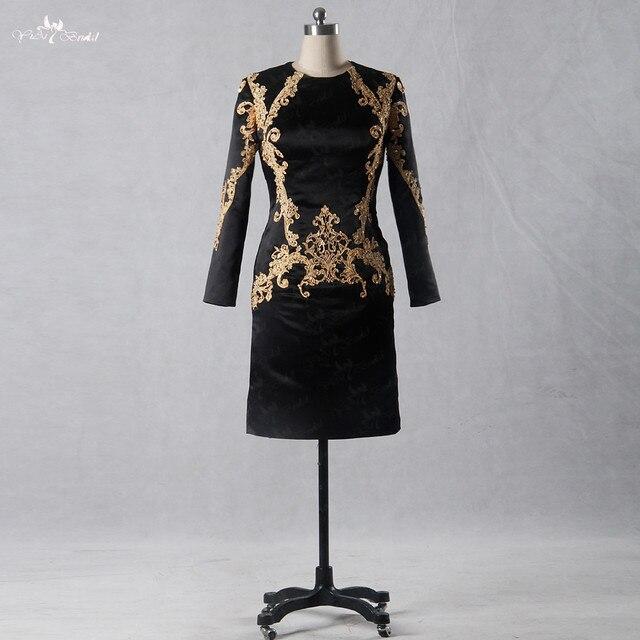 Korte Avondjurken Zwart.Lzf010 Speciale Vintage Zwart Goud Korte Avondjurk Lovertjekleding
