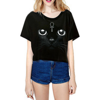 2016 New Crop Top T Shirt Women Tops Fathion Kawaii Print Cat Summer Tops Tees Casual