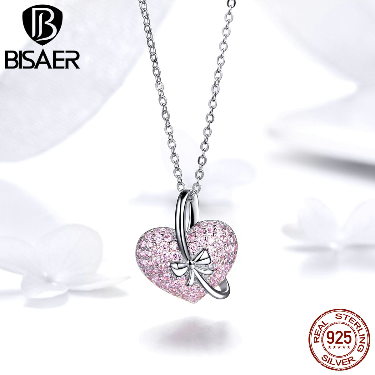 925 Silver Crystal Necklace Pendant Valentine Day Gifts For Her Girlfriend Women