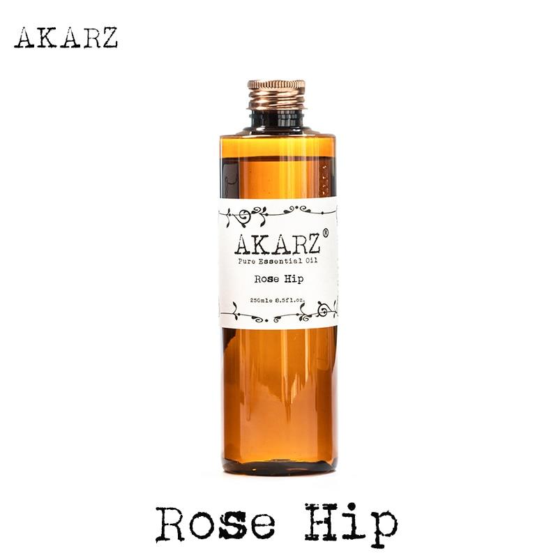 AKARZ Berømt merkevare rose hip olje naturlig aromaterapi høy kapasitet hudpleie massasje spa rose hip essensielle olje