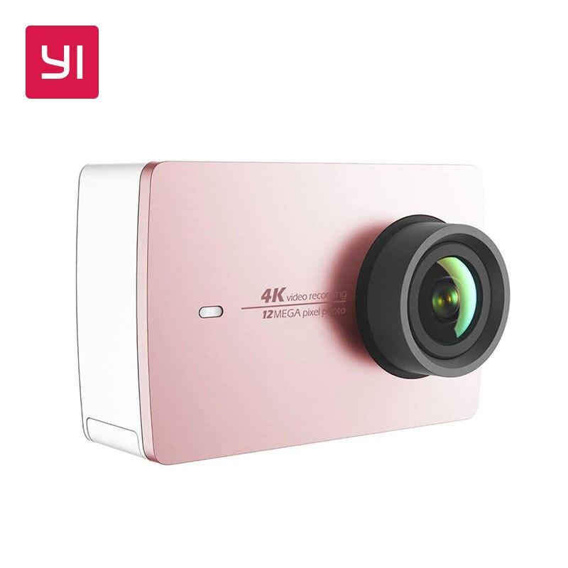 YI 4 K Cámara de Acción Mini cámara de Deportes de Ambarella 12MP CMOS EIS Wifi 155 grado versión internacional modelo rosa oro