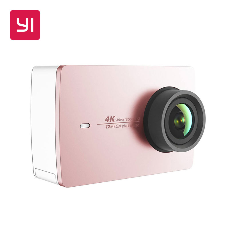 YI 4K Action Camera Pink Mini Sports Camera Ambarella 12MP CMOS EIS Wifi 155 degree International Version Model Rose Gold