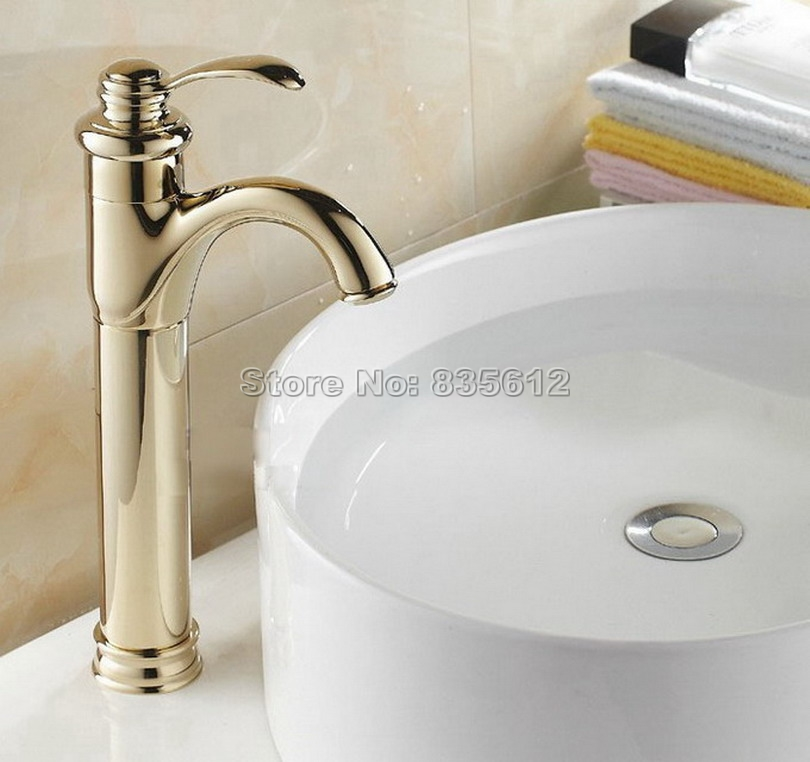 Polished Gold Color Brass Single Handle Bathroom Basin Mixer Tap Deck Mounted Vessel Sink Faucets Wgf059 9900 good quality single hole deck mounted polished chrome bathroom basin mixer sink tap faucets