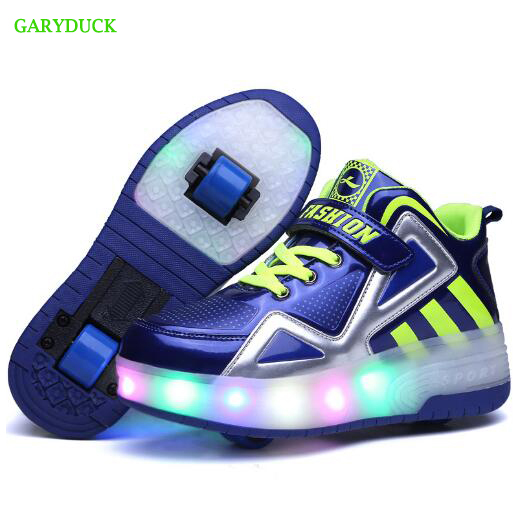 2017 Fashion Children Roller Light shoes Two Wheels for Girls/Boys LED Light Roller Skate glowing Sneakers Shoes With Wheels 2017new children led light shoes with one two wheels kids pu leather high help roller skate shoes boys girls sneakers shoes