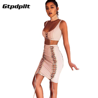 Gtpdpllt Knitted Summer Dress 2017 Vintage Vestidos Party Dresses Two Pieces Sexy Split Cross Lace Up