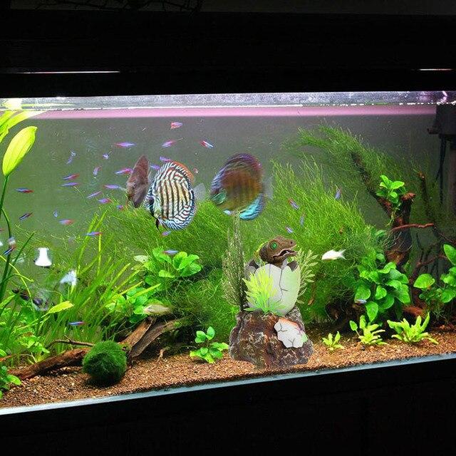Aquarium Fish Tank Decoration Baby Dinosaur Oxygen Air Operated Wheel Ornament Plants Grama Artificial
