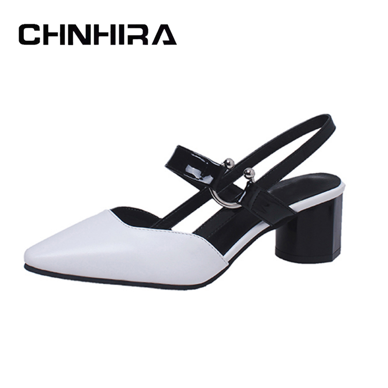 CHNHIRA Pointed Toe High Heels 2017 New Summer Shoes Woman Casual Sexy Gladiator Sandals Elegant Pumps With Metal #CH388 chnhira 2017 suede gladiator sandals platform wedges summer creepers casual buckle shoes woman sexy fashion high heels ch406