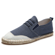LAOCHRA Märke Man Canvas Espadrilles 2018 Top Sidor Vår / Höst Slip On Män Loafers Hemp Bottom Fisherman Tonårskor Skor Krasovki