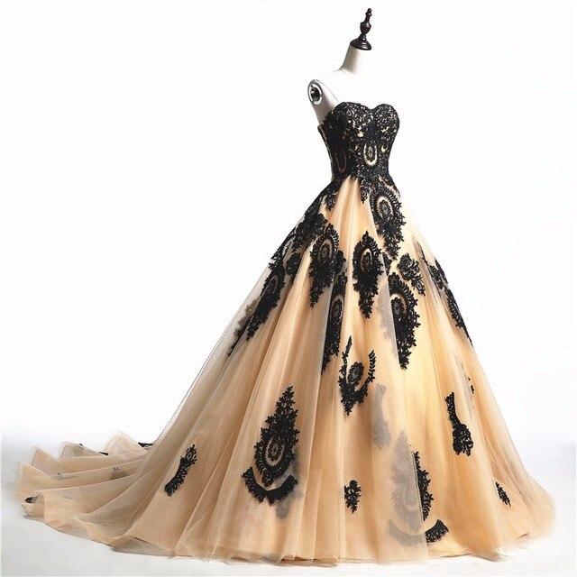Vintage Schwarze Gothic Brautkleider 2017 Schatz Lace up Tüll Bunte ...