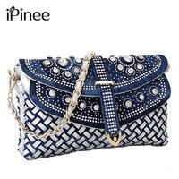 Women S Bag 2014 Spring Fashion Day Clutch Designers Textile Jeans Diamante Shoulder Messenger Bag Ladies